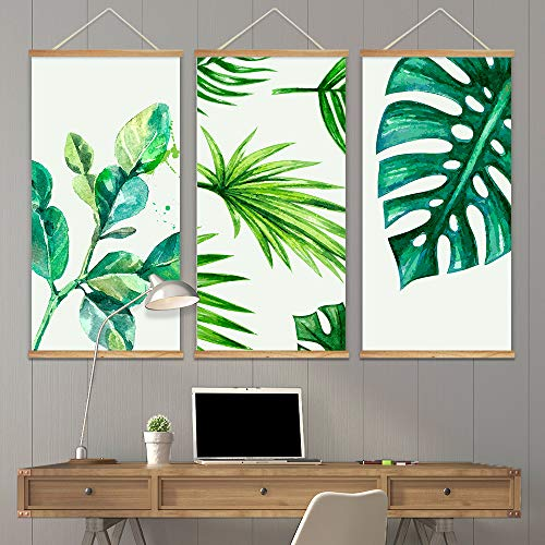 3 Panel Hanging Poster with Wood Frames Watercolor Style Tropical Leaves Decorative x 3 Panels