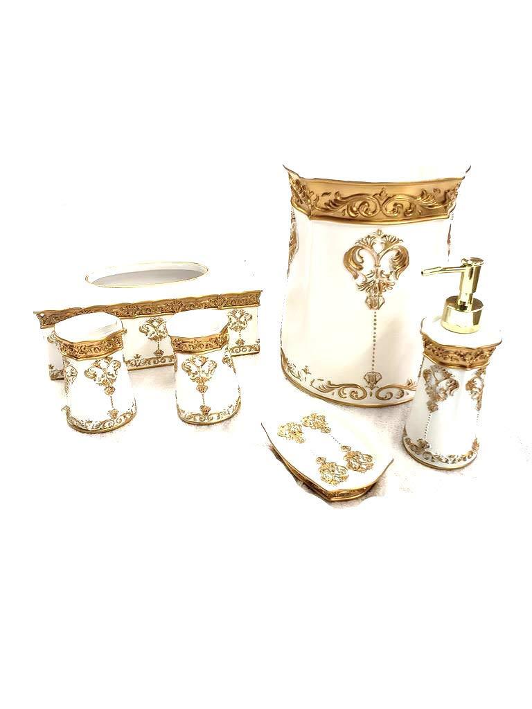 Empire Home Elegant 6 Piece Bathroom Ceramic Accessory Set - Limited Quantity Available! (Rectangular White) by Empire Furniture USA