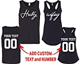 CRAZYDAISYWORLD Hubby Wifey Pattern Customized Text Name Design Couple Tank Top Size Men M Women S