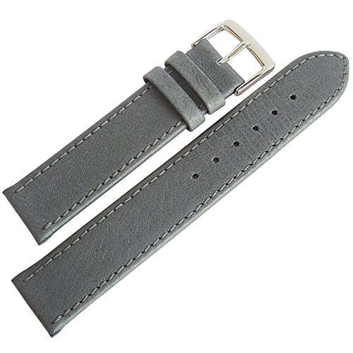 Fluco Pigskin 16mm Grey Smooth Leather German-Made Mens Watch Strap