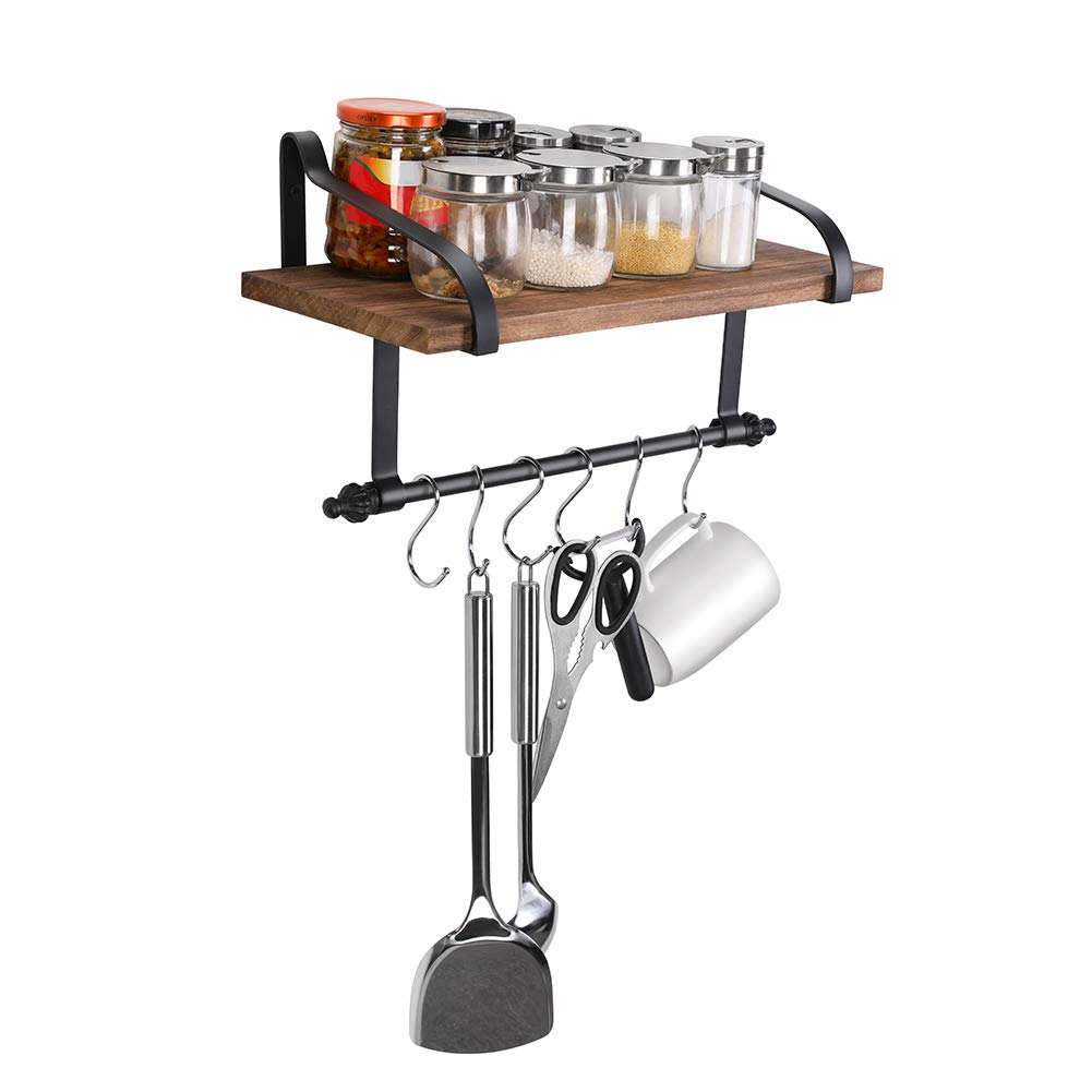 Pot Pan Rack Wall Mounted Kitchen Rack Hanging Wooden Shelf with 6 Removalable Metal S-Hooks for Kitchen,Bathroom,Bedroom,Living Room