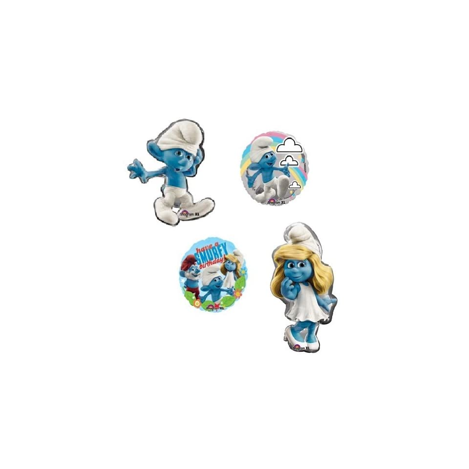 SMURF Smurfette Movie Large Figure 4 Happy Birthday Party Helium Mylar Balloons Health & Personal Care