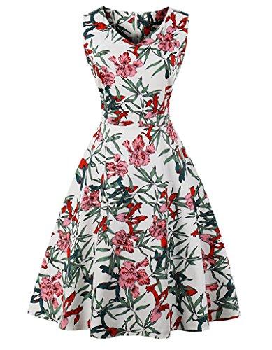 VERNASSA 1950s Vestidos para Mujer, 50s Vestido Retro con Estilo del Oscilación de la Tarde de la Vendimia del Baile de Fin de Curso del Club del Coctel del Algodón del Estilo de Hepburn 1620-hoja