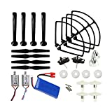 Coolplay® Upgraded Syma X8C X8W Venture Full Kit Crash Pack Main Blade Propellers & Motor & Propeller Protectors Blades Frame & Landing Skid & Battery & Spindle Sleeve Spare Parts for RC Mini Quadcopter Toy (Black)