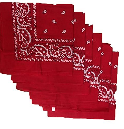 - 6 Color Pack Paisley Bandana Scarf, Head Wraps RED