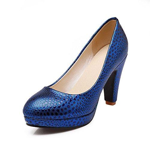 AllhqFashion Damen Rund Zehe Ziehen auf PU Leder Gemischte Farbe Hoher Absatz Pumps Schuhe Knallblau