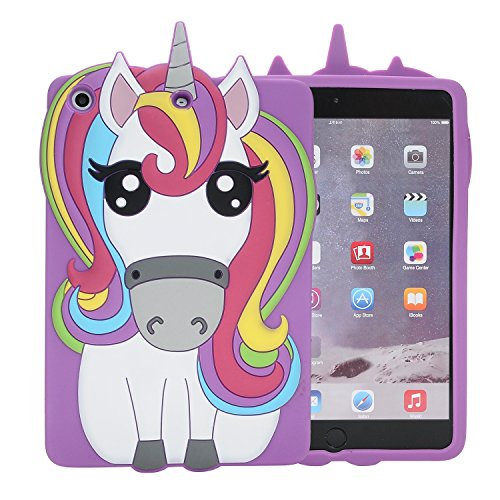 iPad Mini Case?Phenix-Color 3D Cute Soft Silicone [Drop Proof,Shock Proof,Anti Slip] Cartoon Gel Rubber Back Cover Case for iPad Mini 1 2 3 (Rainbow Horse)