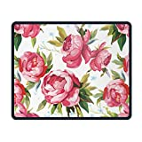 "Pink Peonies with Leaves Comfort Cloth Cover Non-Slip Rectangle Mousepad 7.1""""X8.66"""""
