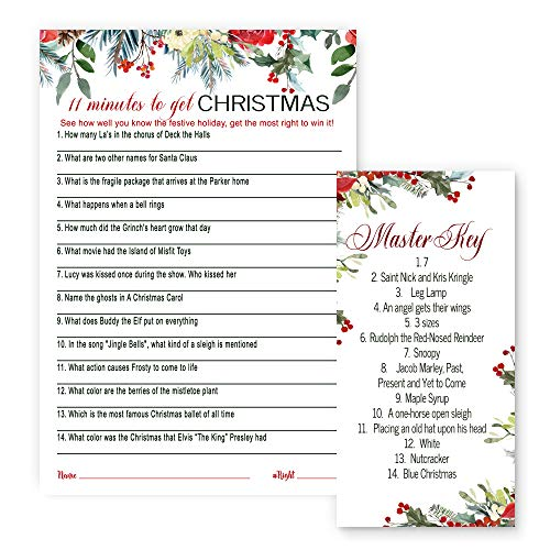 Holiday Floral Christmas Party Game Trivia Set of 25 Cards