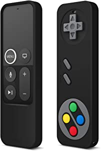 elago R4 Retro Apple TV Remote Case Compatible with Apple TV Siri Remote 4K 5th / 4th Generation - Classic Controller Design [Non-Functional], Extra Protection, Lanyard Included (Black)