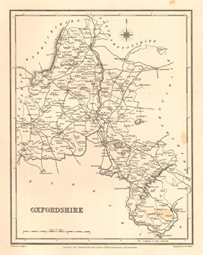 Antique county map of OXFORDSHIRE by Walker & Creighton for Lewis - c1840 - old map - antique map - vintage map - printed maps of Oxfordshire