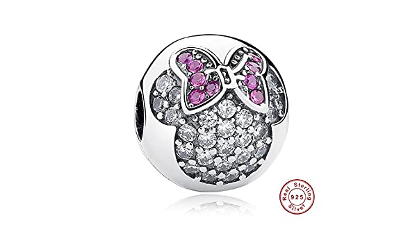 Amazon.com: Dijes Sweet Cute Lovely Mickey Minnie Pave Clip Charm Dijes Para Pulseras Pulseira De Plata: Jewelry