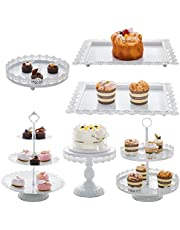 6pcs Cake Stand Set, White Cupcake Stand,Metal Dessert Display,Cake Stands for Dessert Table,Home Decor, Food Service