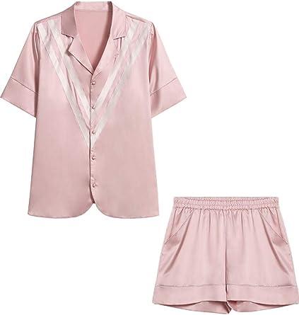 2020 Verano Pijama De Seda para Niña Blusa Costura De Viento Ropa De Casa De Manga Corta Se Puede Usar Afuera: Amazon.es: Ropa y accesorios