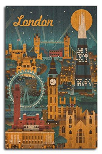 Lantern Press London, England - Retro Skyline (10x15 Wood Wall Sign, Wall Decor Ready to Hang)