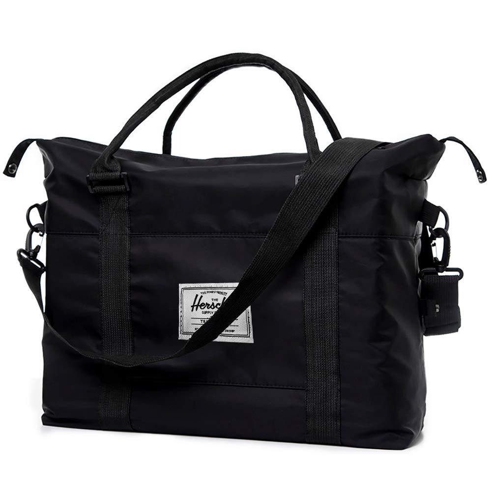 Travel Bags with Shoulder Strap, Weekender Carry On Bag for Women Men,Sports Gym Bag, Workout Duffel Bag, Overnight Shoulder Bag Fit 15.6 Laptop Black