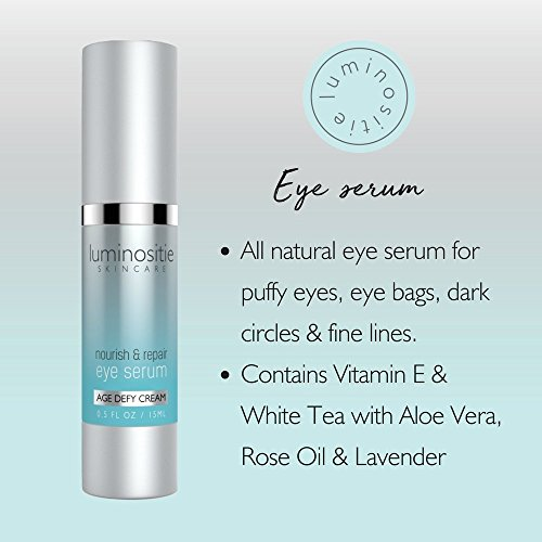 Under Eye Serum For Tight, Puffy Eyes – Treatment For Dark Circles, Under Eye Bags, Wrinkles & Fine Lines – Natural Anti-Aging Eye Vitamins Penetrates Deep & Refreshes Cells To Firm Delicate Eye Area
