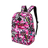 Creaon Double-Shoulder Bag Canvas Casual Printed Simple College Style Backpack Travel School Bag (Rosa)
