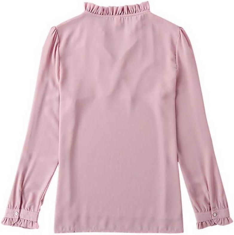 Fafalisa Blusa de Mujer de Manga Larga con Cuello Alto y Lazo ...