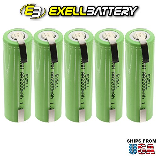 5x Exell 1.2V AA Size 2200mAh NiMH Rechargeable Batteries w/ Tabs use w/ radio controlled devices electric tools electric mopeds meters radios toothbrushes cameras camcorders mobile phones pagers