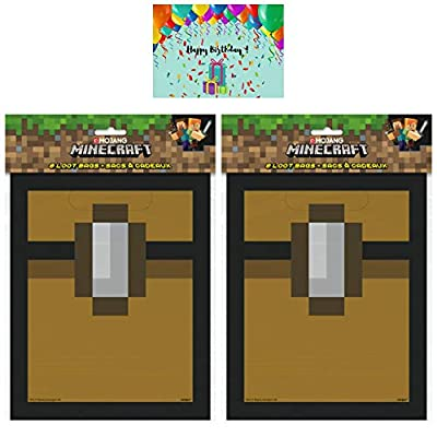 Minecraft Party Treat Bags - Set of 16 Goodie/Loot Bags Bundled with 1 Birthday Card by JPMD Party House
