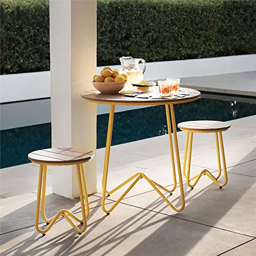 Novogratz 88193YNOE 3 Piece Poolside Bobbi Outdoor Bistro Set, Yellow