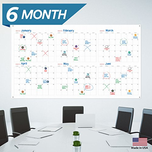 large dry erase wall calendar 33 x 47 blank 2018 2019 reusable quarterly planner academic fiscal year office project 6 month poster laminated