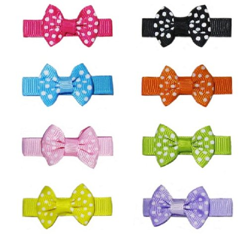 Set of 8 Children Toddler Hair Clips Bows Knot Handmade (Random Colors) (Polka Dots) (Australia Ray Bans Baby)