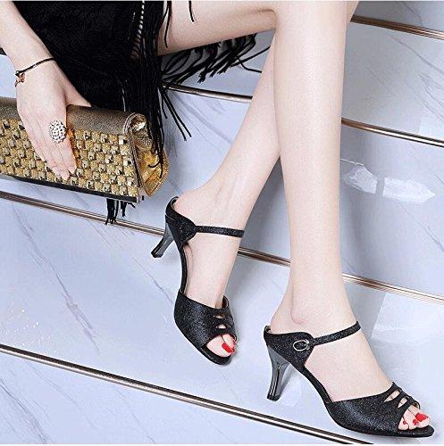 Moda Mujer verano sandalias confortables tacones altos,40 amarillo Black