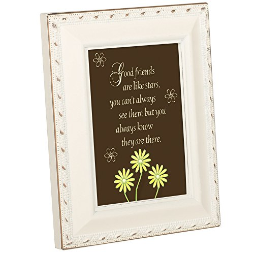 (Cottage Garden Good Friends are Like Stars Ivory Gold Rope Trim Small 2 x 3 Frame Plaque)