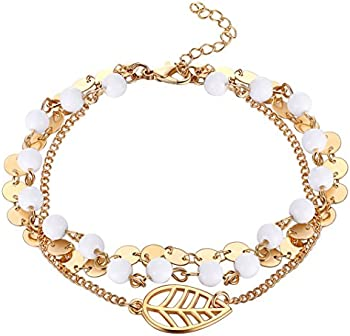 Fesciory Women Adjustable Beach Gold Alloy Foot Anklet