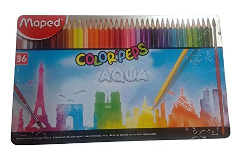 Maped Colorpeps Aqua Water Colour Pencils in Metal Box - 36 Colours 836017 by Maped