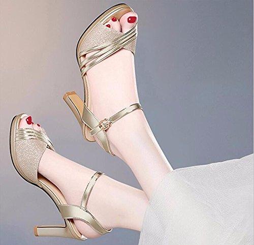 Tacchi Donna Da In Golden Scarpe Con Scarpe I HBDLH Summer Tacchi Wild Sandali 9Cm Bocca Alti Spesso Solo Pesce Scarpe w8qqSgXWf