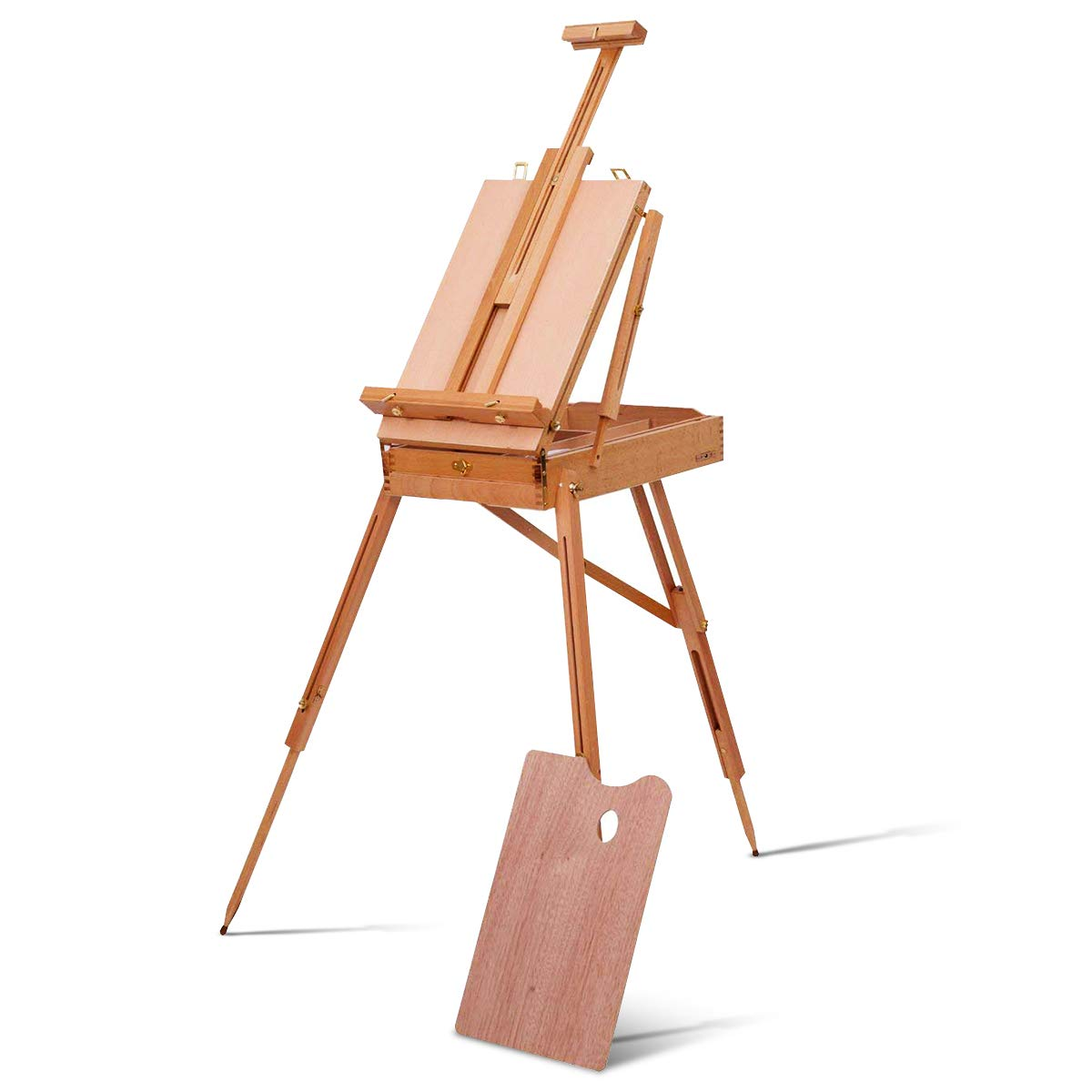 Tangkula Wooden French Easel Stand with Sketch Box, Drawer & Palette Foldable Folding Portable Easel Case with Shoulder Strap Solid Beech Wood Construction Art Easel AM0235TL