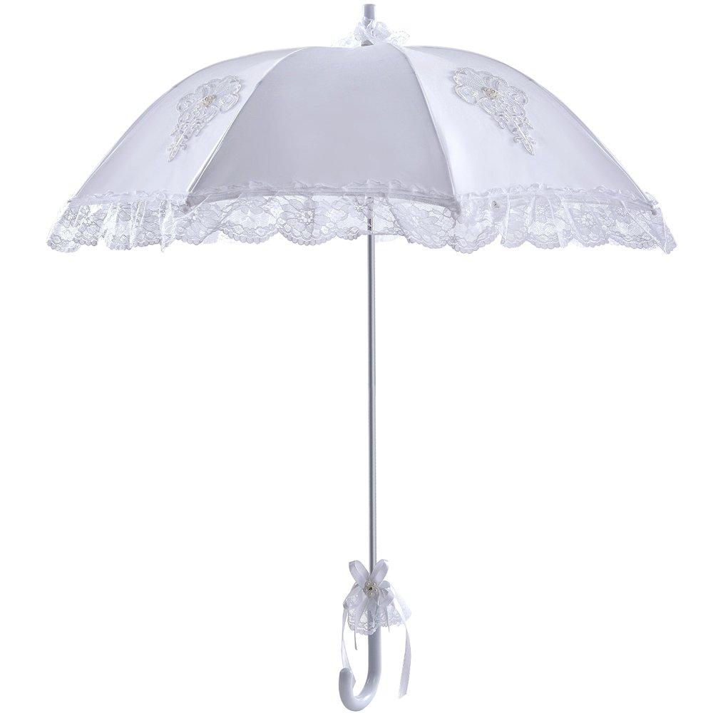 White Wedding Parasol Lace Edge Glossy Satin Rain Sun Umbrella Luxurious Embroidery Decor Bridal Photograph Costume Accessory