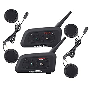 Fodsports Bluetooth Intercom Headset Interphone Motorcycle Helmet Communication System Headphone for Riding&Skiing,1200m 6 Riders Dual of Soft Cable