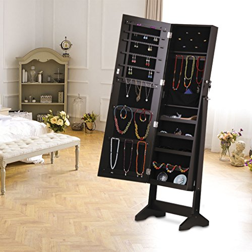 Large Product Image of LANGRIA Lockable Jewelry Cabinet Jewelry Armoire with Mirror Jewelry Holder Organizer Storage, 4 Angle Adjustable, Brown