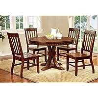 Furniture of America Castile 5-Piece Transitional Round Dining Table Set, Dark Oak