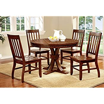 Furniture Of America Castile 5 Piece Transitional Round Dining Table Set Dark Oak