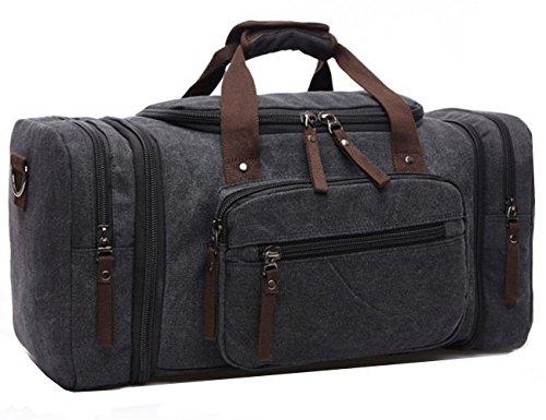 Aidonger Unisex Canvas Großräumige Handtasche Schultertasche Reisetasche (Schwarz)