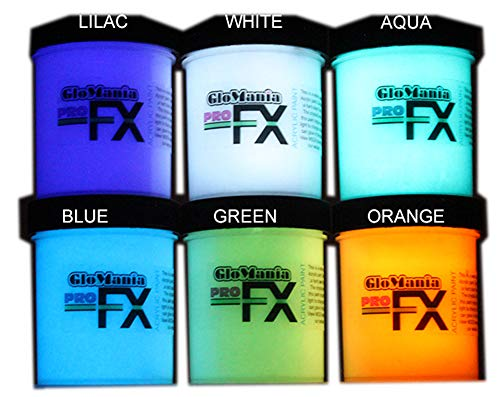 6 Color Set Glow in The Dark Paint Luminous Glowing 1/2oz- Sampler -