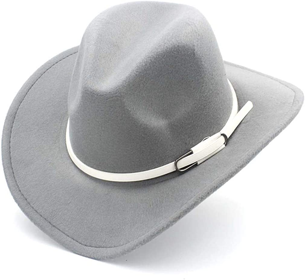 Elee Wool Blend Wide Brim Western Cowboy Hat Cowgirl Jazz Cap White Leather Belt
