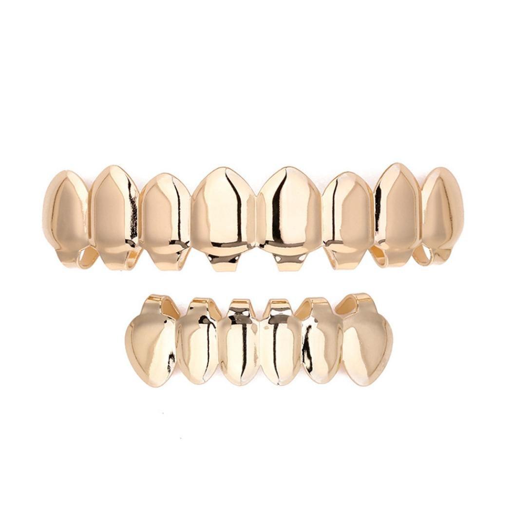 Lookatool 1 Set Gold Plated Hip Hop Teeth Grillz Top & Bottom Grill Teeth Grills Fashion (Gold) Lookatool e3