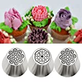 wiwanshop 3Pcs Stainless Steel Russian Tulip Flower Icing Piping Nozzles Cake Decor Tips Baking Tools