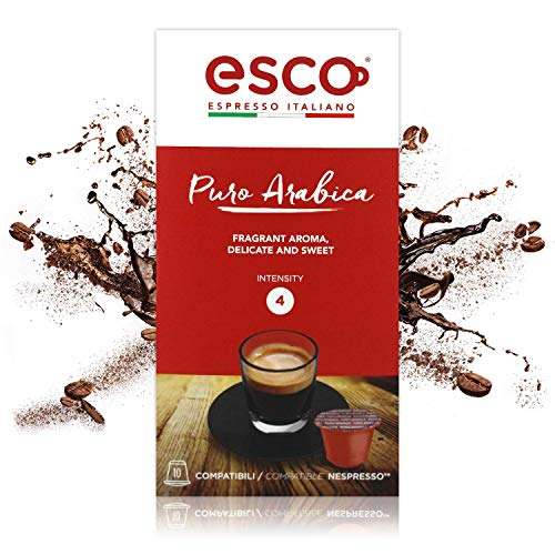 ESCO Coffee Espresso Italiano | Puro Arabica | Nespresso Compatible Capsules | Made in Italy | (10-Count)