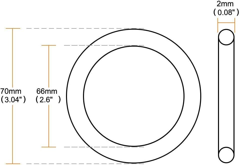 Metric Buna-N Sealing Gasket Pack of 20 uxcell Nitrile Rubber O-Rings 70mm OD 66mm ID 2mm Width