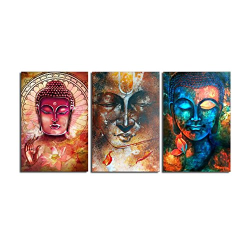 (HD Print 3 Panel Buddha Wall Art Canvas Painting Modern Picture for living Room Home Decor (14x20inchx3pcs, No Frame))