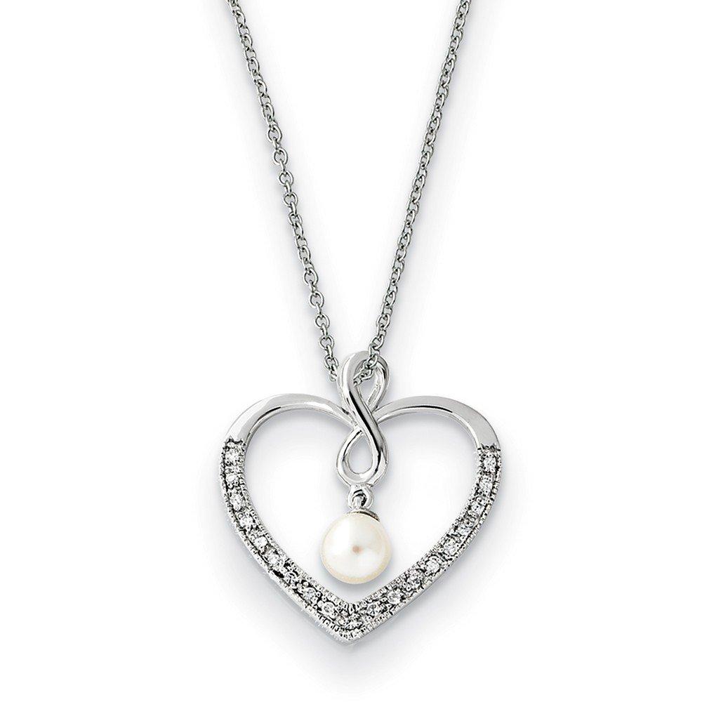 Jewel Tie 925 Sterling Silver CZ Cubic Zirconia /& FW Cultured Pearl My Friend 18in Heart Neck
