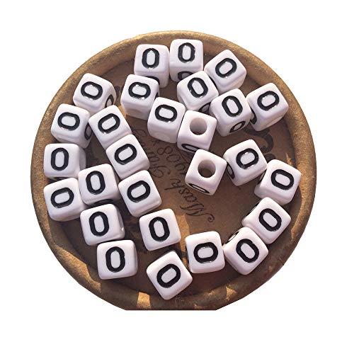(EmmaGreen Acrylic Blocks Cube Square 8mm 100pcs Single Letter O Beads Alphabet for Spiritual Jewelry Name Bracelet Making)