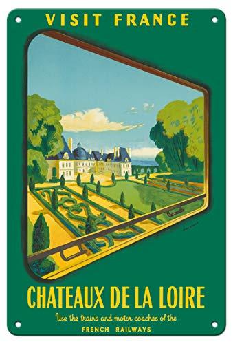 (Pacifica Island Art 8in x 12in Vintage Tin Sign - France Loire Valley Castles (Châteaux De La Loire) - French Railways (SNCF) - Vintage Travel Poster by Jean Garcia c.1952)